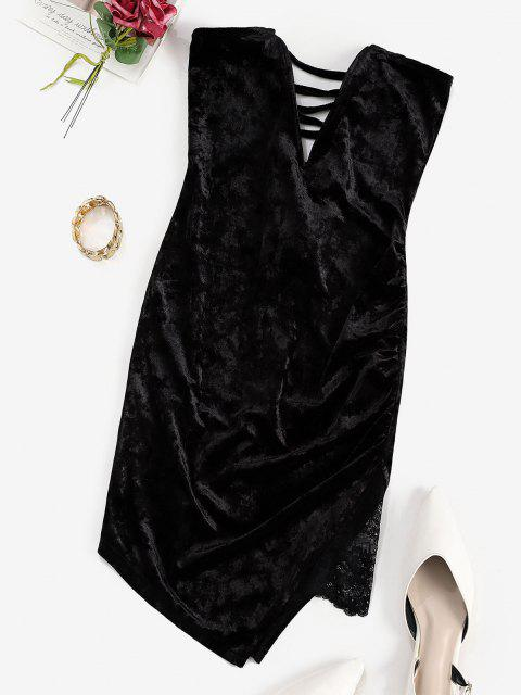 outfit ZAFUL V Wired Velvet Lace Up Mini Dress - BLACK S Mobile