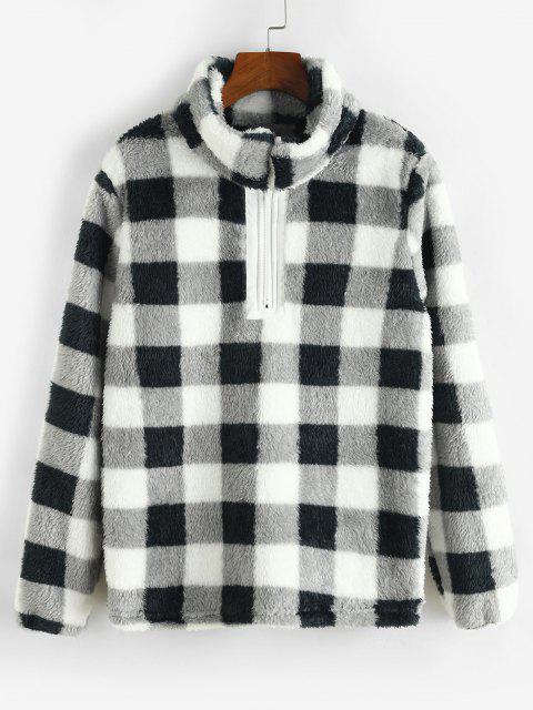 fashion Plaid Plush Quarter Zip Sweatshirt - BLACK L Mobile