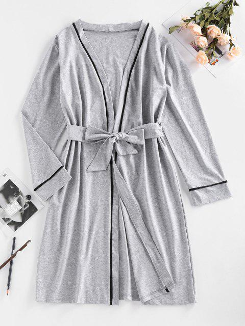 women's ZAFUL Contrast Binding Belted Pajama Robe - LIGHT GRAY S Mobile