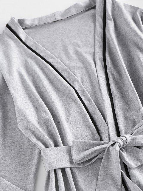 fancy ZAFUL Contrast Binding Belted Pajama Robe - LIGHT GRAY M Mobile
