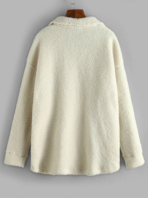 fancy Solid Snap Button Teddy Coat - WARM WHITE M Mobile