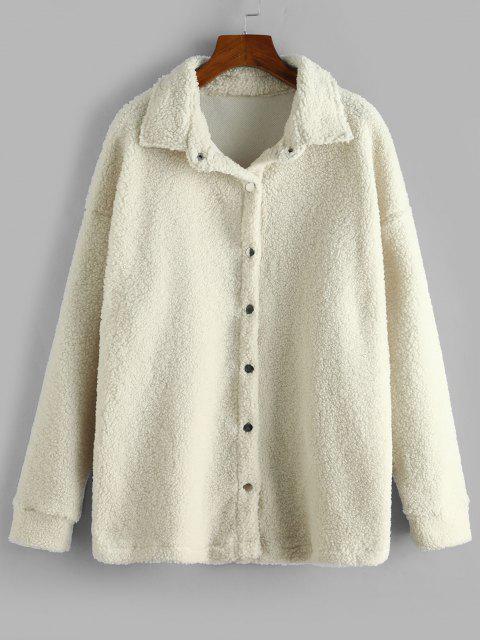 Manteau en Couleur Unie avec Bouton Pression - Blanc Chaud S Mobile