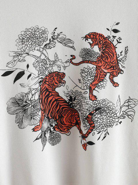 Haut Tigre Fleuri Imprimé en Tricot à Câble - Blanc L Mobile