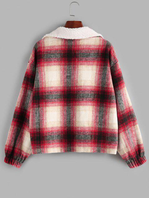 ZAFUL Tartan Half Zip  Drop Shoulder Pullover Jacket - أحمر L Mobile