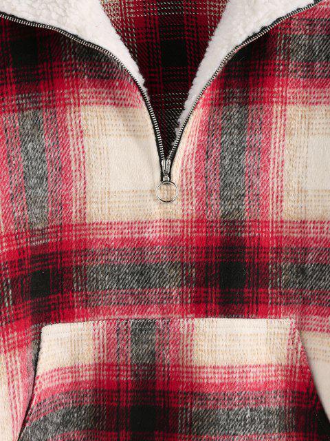shops ZAFUL Tartan Half Zip  Drop Shoulder Pullover Jacket - RED M Mobile