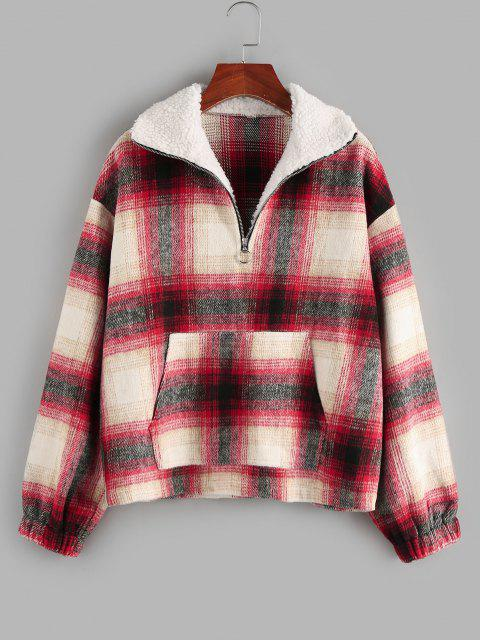 trendy ZAFUL Tartan Half Zip  Drop Shoulder Pullover Jacket - RED S Mobile