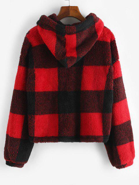 Abrigo con Capucha a Cuadros de Piel Sintética - Rojo M Mobile