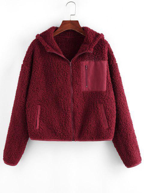 ZAFUL Pockets Hooded Teddy Coat - نبيذ احمر M Mobile