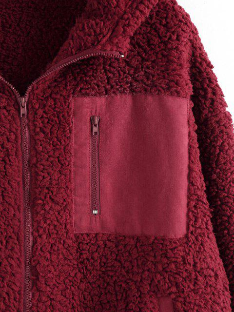 ZAFUL Taschen Kapuze Teddy Mantel - Roter Wein M Mobile