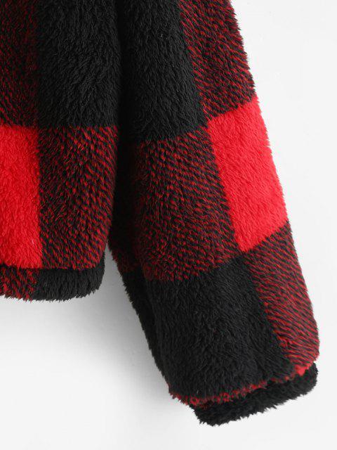 Manteau à Capuche à Carreaux en Fausse Fourrure à Goutte Epaule - Rouge S Mobile