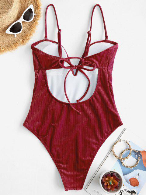 ZAFUL Ribbed Velvet V Wired One-piece Swimsuit - نبيذ احمر XL Mobile