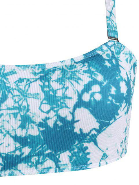 best ZAFUL Plus Size Tie Dye Ribbed Bikini Swimwear - BLUE XL Mobile
