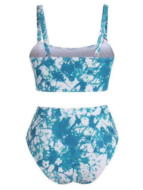 new ZAFUL Plus Size Tie Dye Ribbed Bikini Swimwear - BLUE XXXL Mobile