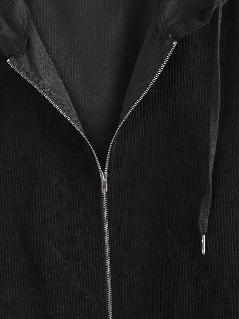 shops ZAFUL Ribbed Pockets Hooded Jacket - BLACK M Mobile