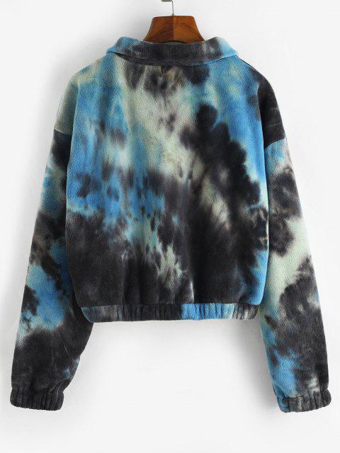 Zip Up Tie Dye Fleece Jacket - أزرق L Mobile