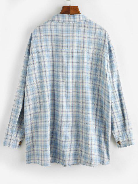 Button Down Plaid Flap Pockets Shacket - متعددة-A M Mobile