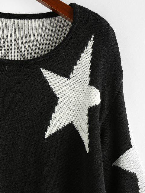 Maglione Stampato Stelle con Maniche Svasate di ZAFUL - Nero L Mobile