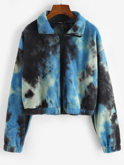 Zip Up Tie Dye Fleece Jacket - أزرق M Mobile
