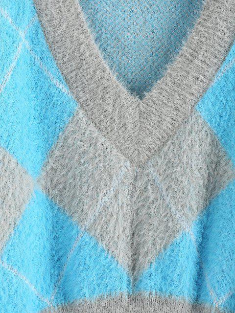 ZAFUL Camisola Nova de Mohair de Padrão de Argyle Cortado - Azul claro M Mobile