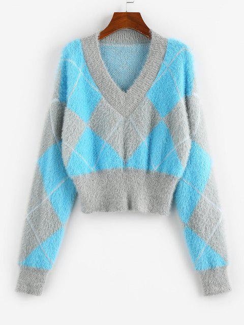 shops ZAFUL Argyle Pattern Mohair Crop Sweater - LIGHT BLUE S Mobile