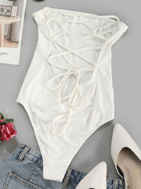 affordable ZAFUL Lace Up Strapless Bodysuit - WHITE L Mobile