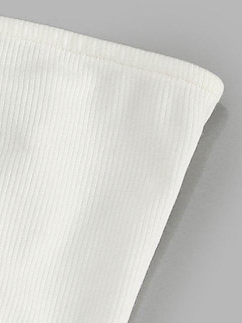 women ZAFUL Lace Up Strapless Bodysuit - WHITE M Mobile