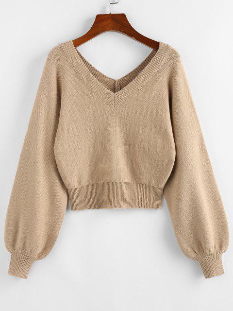 women's ZAFUL Raglan Sleeve Double V Neck Short Sweater - LIGHT KHAKI L Mobile