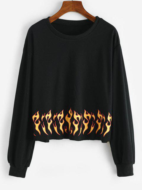 Flame Print Raw Hem Sweatshirt - أسود S Mobile