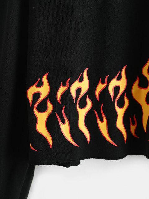 latest Flame Print Raw Hem Sweatshirt - BLACK L Mobile