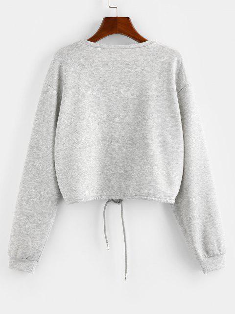 ZAFUL Sweat-shirt CourtMotif de Lettre avec Lacets - Gris L Mobile