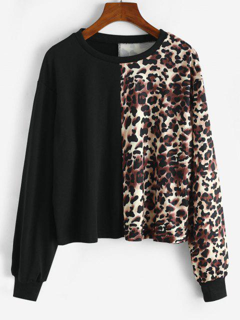 shops Crew Neck Leopard Sweatshirt - BLACK S Mobile