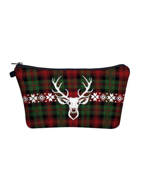 Weihnachten Karierte Elkdruck Schminken Tasche - Dunkles Waldgrün  Mobile