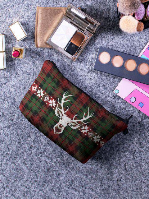 シックなチェック柄のエルクプリント化粧バッグ - ダークフォレストグリーン  Mobile