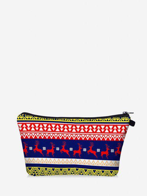 Sacchetto per Trucco con Stampa Geometrica Ad Alce di Natale - Blu  Marina  Mobile