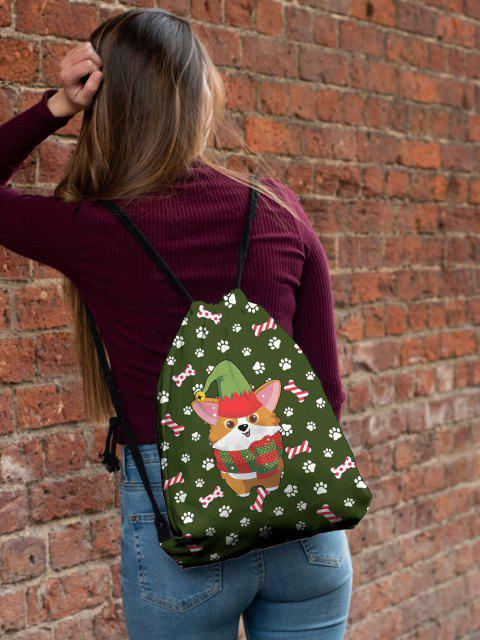 affordable Christmas Cartoon Corgi Print Cinch Bag - JUNGLE GREEN  Mobile