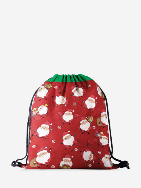Weihnachten Cartoon Santa Print Cinch-Tasche - Rot  Mobile