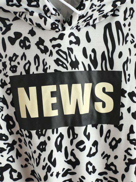 best Leopard News Graphic Hoodie - BLACK L Mobile