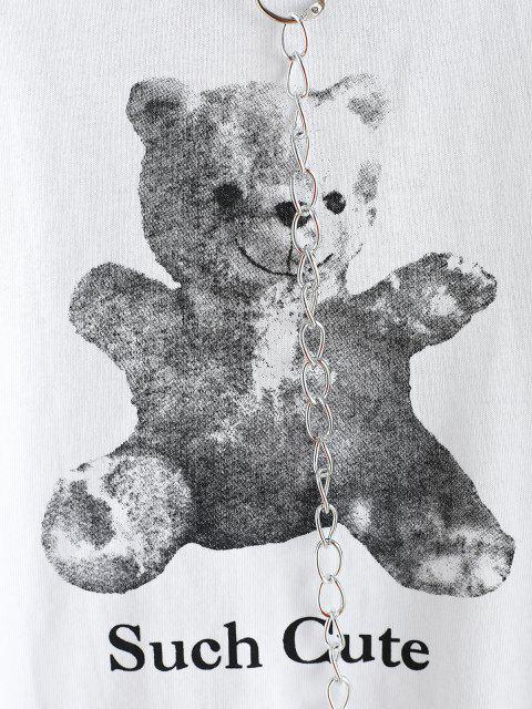 Sweat-shirt à Chaîne Court Ours Mignon - Blanc L Mobile