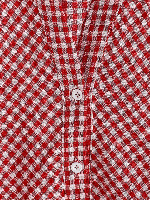 best Button Up Gingham Lantern Sleeve Shirt - RED S Mobile