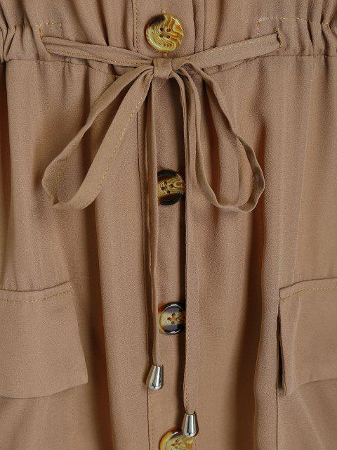 hot Plus Size Off Shoulder Drawstring Cargo Shirt Dress - CAMEL BROWN L Mobile