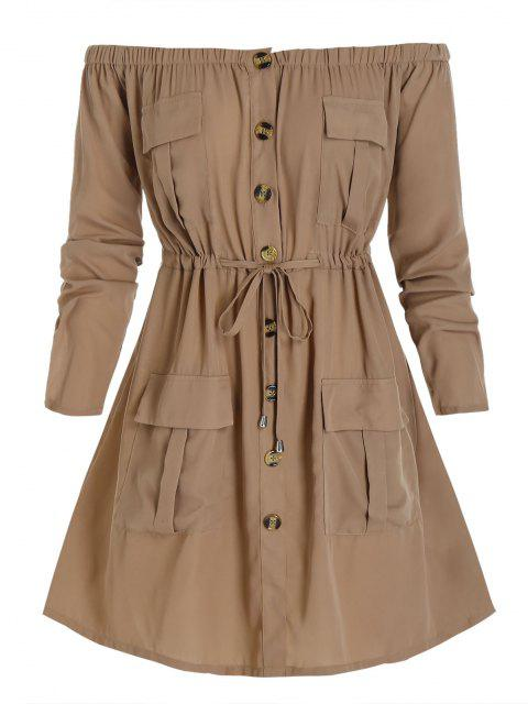outfit Plus Size Off Shoulder Drawstring Cargo Shirt Dress - CAMEL BROWN 1X Mobile