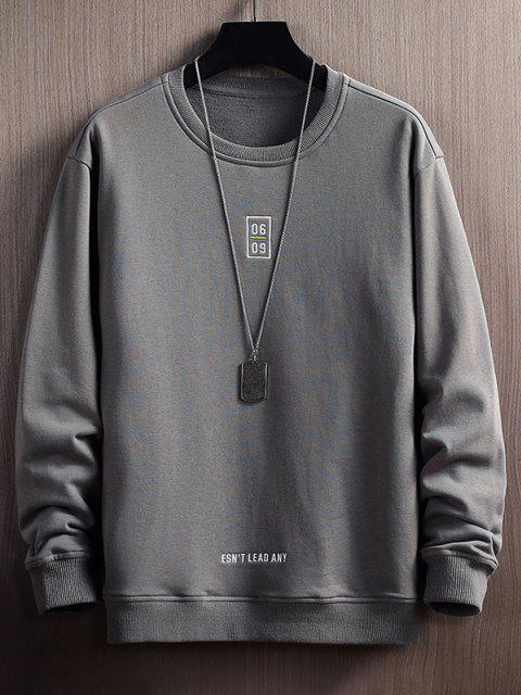 Sweatshirt mit Buchstabe Druck und Rundhalsausschnitt - Grau XS Mobile