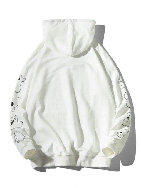 hot Good Boy Ghost Pattern Halloween Hoodie - WHITE L Mobile