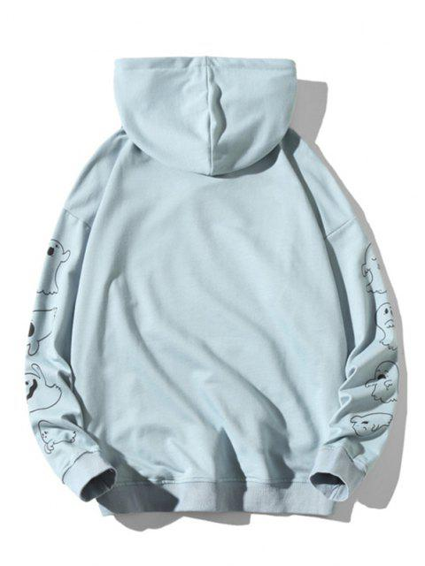 chic Good Boy Ghost Pattern Halloween Hoodie - LIGHT BLUE XL Mobile