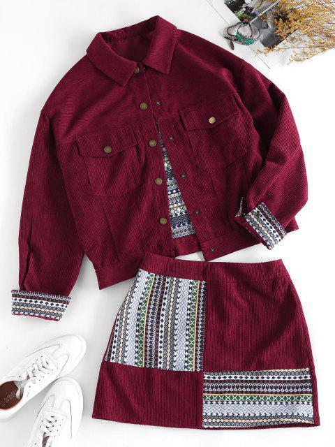 online ZAFUL Corduroy Tribal Print Mini Skirt - FIREBRICK L Mobile