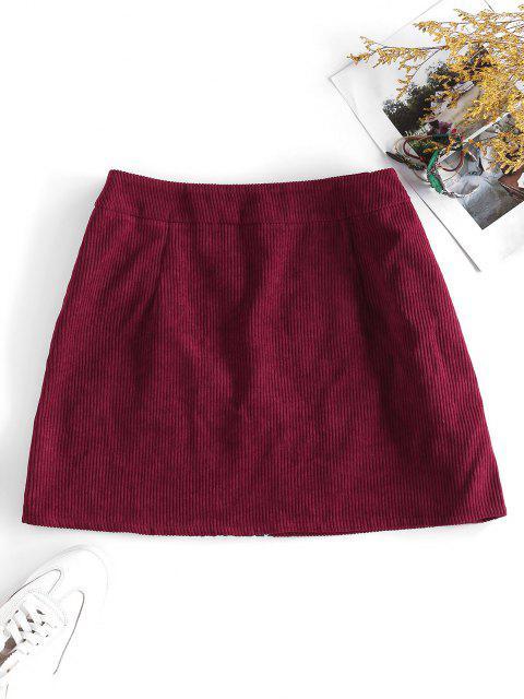 trendy ZAFUL Corduroy Tribal Print Mini Skirt - FIREBRICK M Mobile