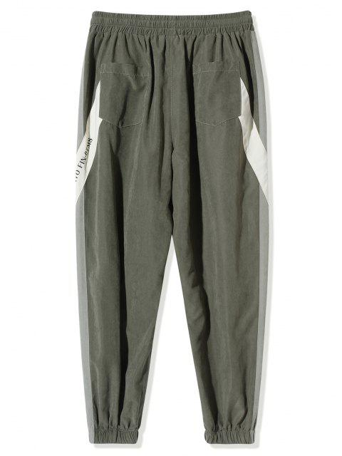 chic Letter Pattern Colorblock Beam Feet Pants - ARMY GREEN 2XL Mobile