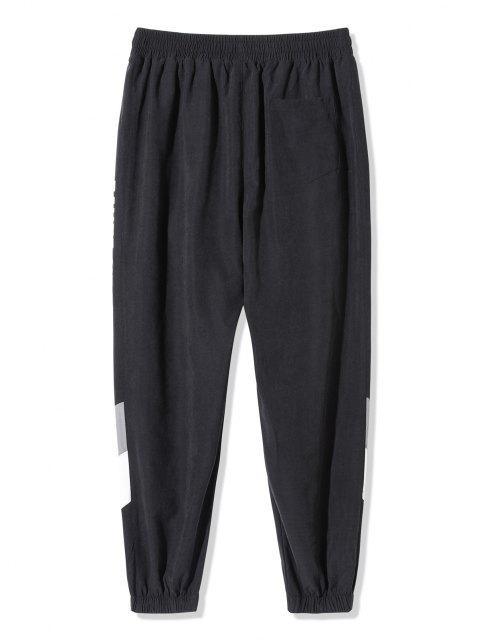 Pantalones Ajustados Estampado Letras y Bloque Color - Negro 4XL Mobile