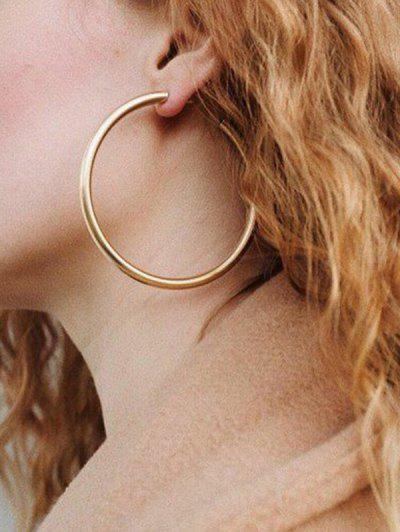 Stylish Round Ring Metal Street Hoop Earrings - Gold