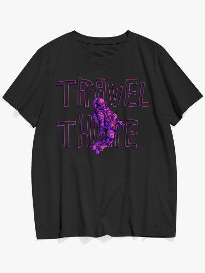 Reise Dort Astronaut Muster-Grafik-T-Shirt - Schwarz L